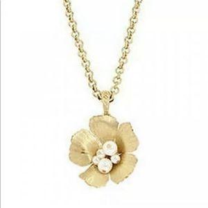 Jessica Simpson Flower Pendant Necklace Gold Pearl